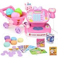 Cute Girl Electric Cash Register Pretend Play Supermarket Cashier Educational Toys For Children Simulation Shopping Cart oyuncak