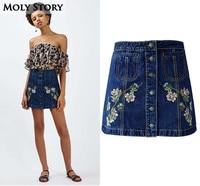 Fashion Cute Floral Embroidered Button Down A Line Mini Skirts Women High Waist Denim Skirt Jupe