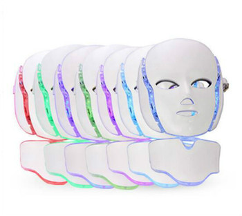 7 Colors LED Facial Mask For Skin Rejuvenation Ance Removal Phototherapy Face And Neck Mask With Microcurrent