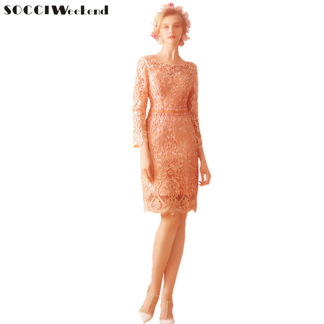 78b5c349698 SOCCI Weekend Elegant Evening Dresses 2018 Beaded Sash New Pink Lace Long  Sleeves The Bridal Mother of the bride dresses Robe