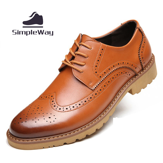 Mens casual shoes wingtip black leather formal wedding dress derby oxfords flat shoes tan brogues shoes for men zapatos hombre