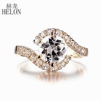 HELON Round Cut 8mm 2 6ct 100 Genuine White Topaz Engagement Wedding Ring Setting Solid 10k