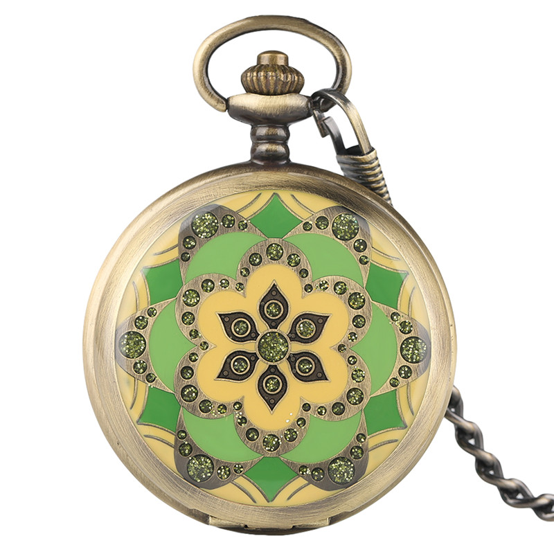 Fashion Crystal Green Style Luxury Pendant Gifts for Women Ladies Fine Wind Up Mechanical Pocket Watch Nursing Watches Fob Chain unique smooth case pocket watch mechanical automatic watches with pendant chain necklace men women gift relogio de bolso