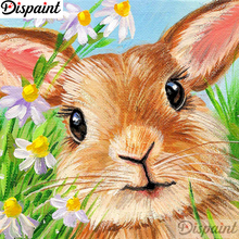 Dispaint Full Diamond Embroidery Rabbit flower Painting Cross Stitch Patterns Rhinestone Unfinished Home Decor A11606