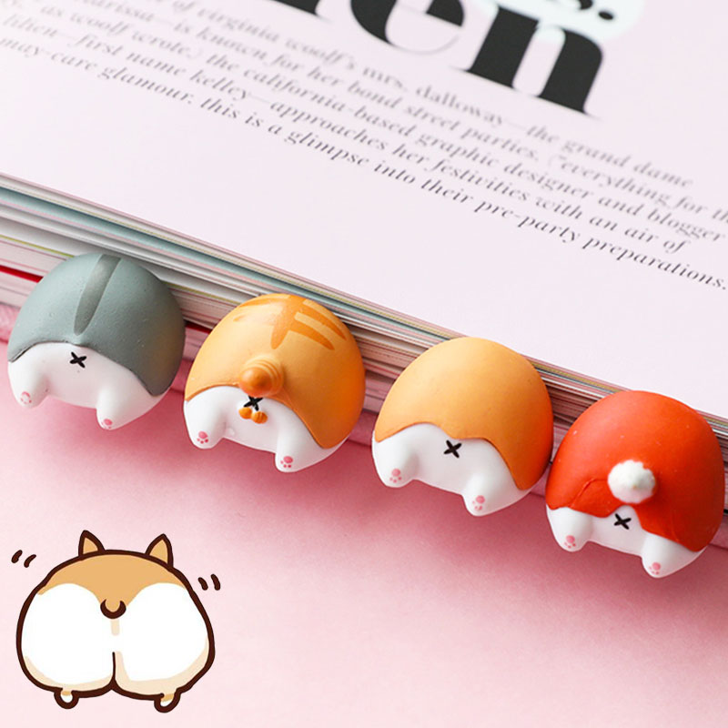 Cute Cartoon Cat Dog Fox Hamster Ass Bookmarks Novelty Anime Around Bookmarks For Book Item Gift For Kids Children Stationery