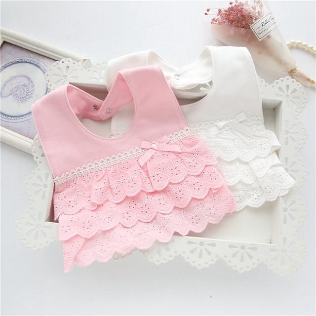 Baby Girl Bibs Cotton Infant Burp Cloth Muslin Bandana Drool Bib Toddler Scarf Winter Dribble Stuff for Newborns Feeding Lace