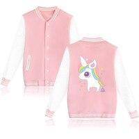 Fasion Unicorn Baseball Jacket Girls Autumn Long Jacket Women Cotton Funny Cartoon O Neck Jacket Coat