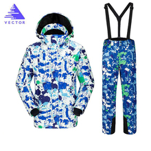 цены на Ski Jacket Men Winter Clothing Male Snowboard Jacket Pants Suit Waterproof Thermal Breathable Professional Snow Clothes Set  в интернет-магазинах