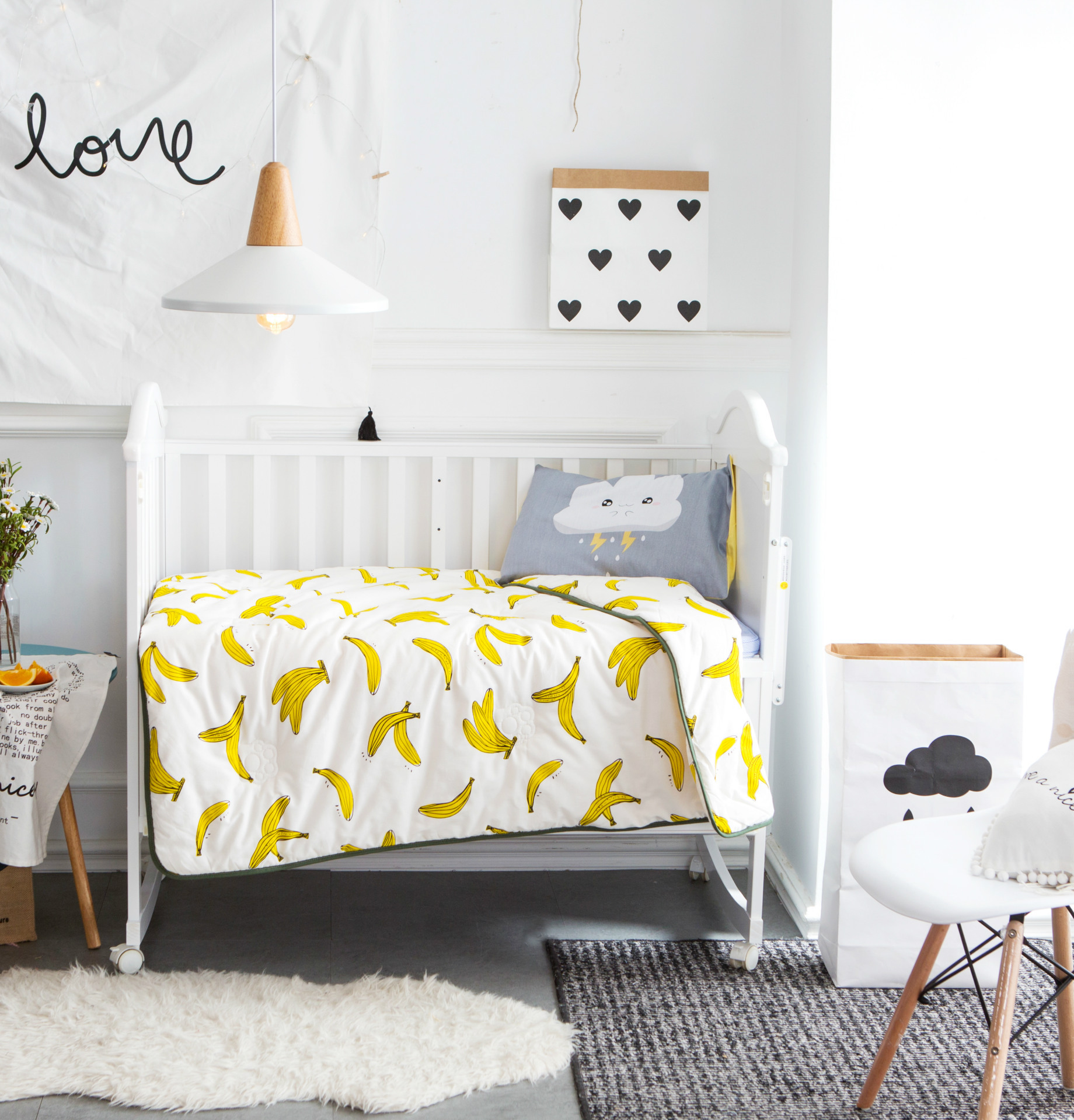 Free baby bed quilt patterns - 110x140cm Baby Quilt Baby Summer Duvet Air Conditioner Blanket For Baby Bed Crib Bedding Set Swan Banana Cactus Pattern Design