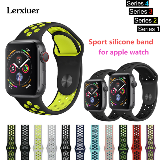 98230d6d3c0 Lerxiuer Sport Silicone strap For Apple Watch band series 4 3 2 1 ...