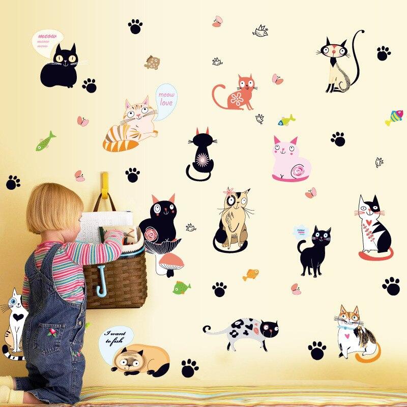 Cute All Kids Cats Cartoon Animals Wallpaper Diy Vinyl Wall Stickers