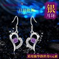 2 colors white love heart shape purple Crystal 925 Sterling silver female Amethyst simple popular long earrings girlfriend gift