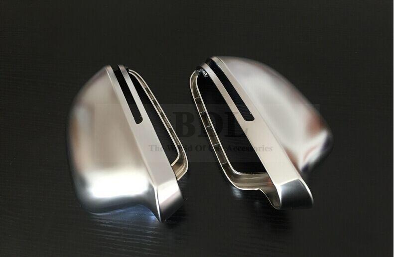 Prix pour Rétroviseur Miroir Case Côté Miroir Chrome Mat Couverture Pour Audi A4 B8 A5 A6 C6 A8 Q3 Une Paire