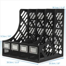 4 Section Divider File Rack Paper Magazine Holder Multifunction Storage Hanger Home Office Desktop Book Box Plastic Bookshelf