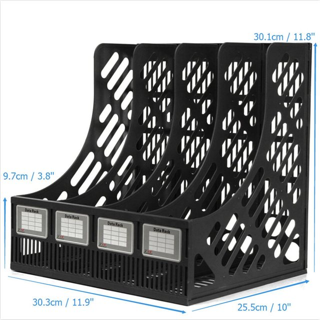 Charmant 4 Section Divider File Rack Paper Magazine Holder Multifunction Storage  Hanger Home Office Desktop Book Box