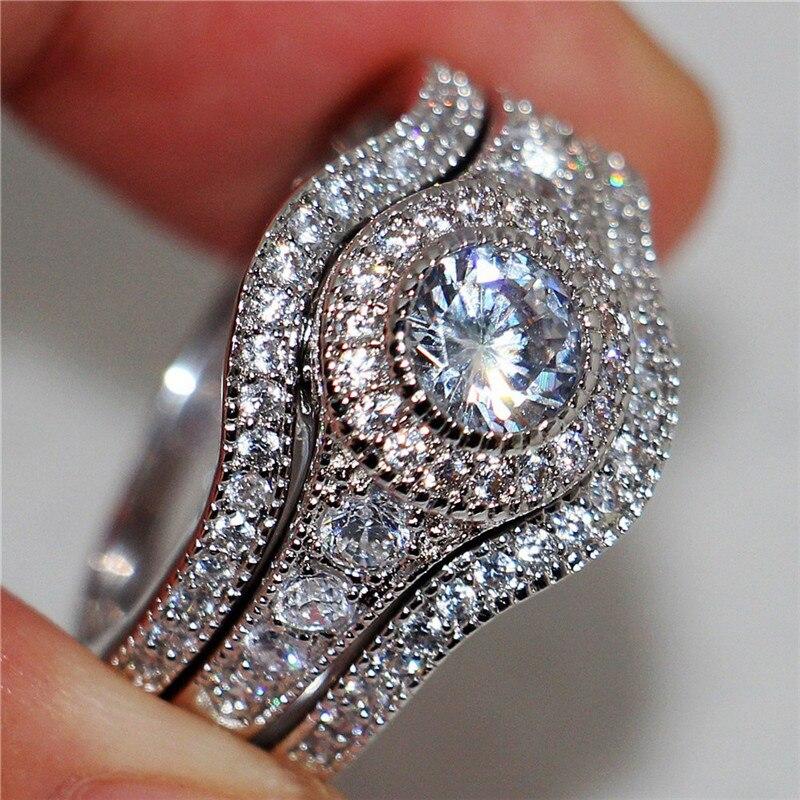 Schmuck & Zubehör Weibliche Kristall Weiß Runde Ring Set Luxus 925 Silber Engagement Ring Vintage Braut Hochzeit Ringe Für Frauen