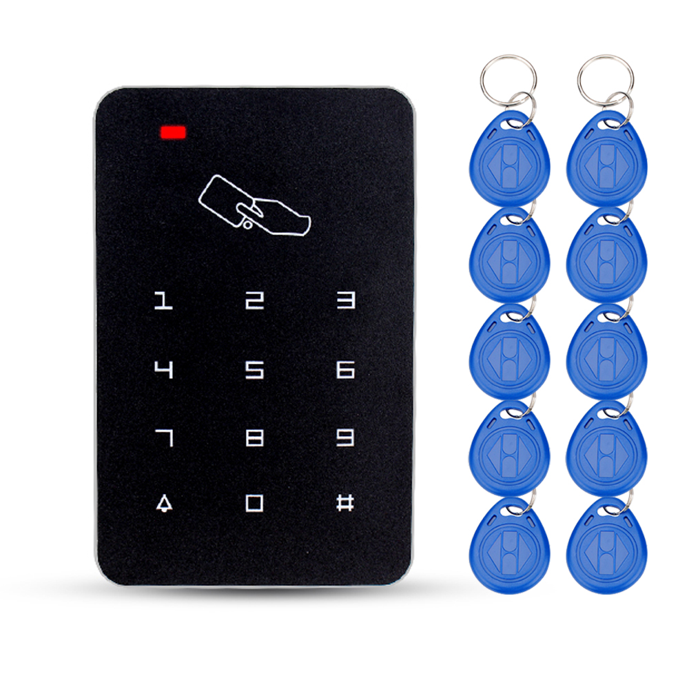 OBO HANDS 125khz RFID Keypad access control system digital keyboard door lock controller RFID card reader with 10pcs TK4100 keys weigand reader door access control without software 125khz rfid card metal access control reader with 180 280kg magnetic lock