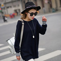 New Arrived Long round neck and shoulder sleeve inserted cashmere sweater knit sweater irregular split lonsleeve head for women