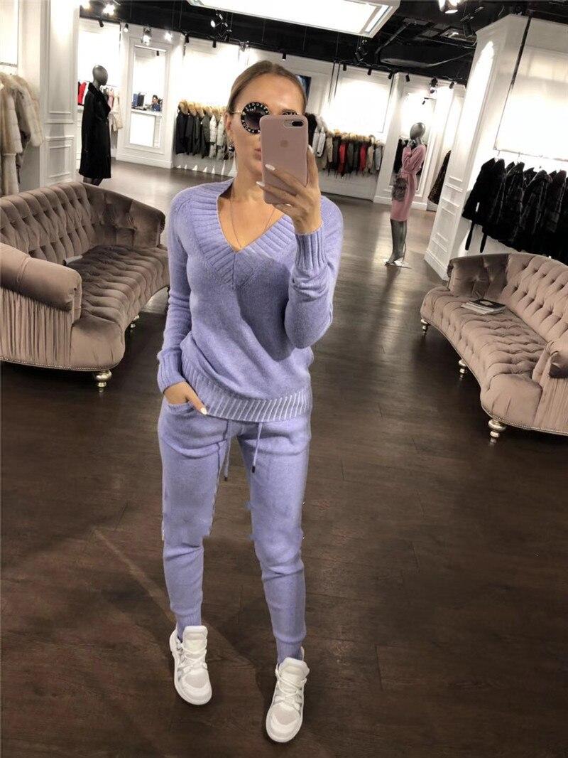 Pantalon Bleu gris Pull Tricoté Qualité Costume De 2018 Hiver pièce rose Femmes Cachemire V Col Gratuite Deux Livraison Haute fuchsia Mode Nouvelle U4SvPHS