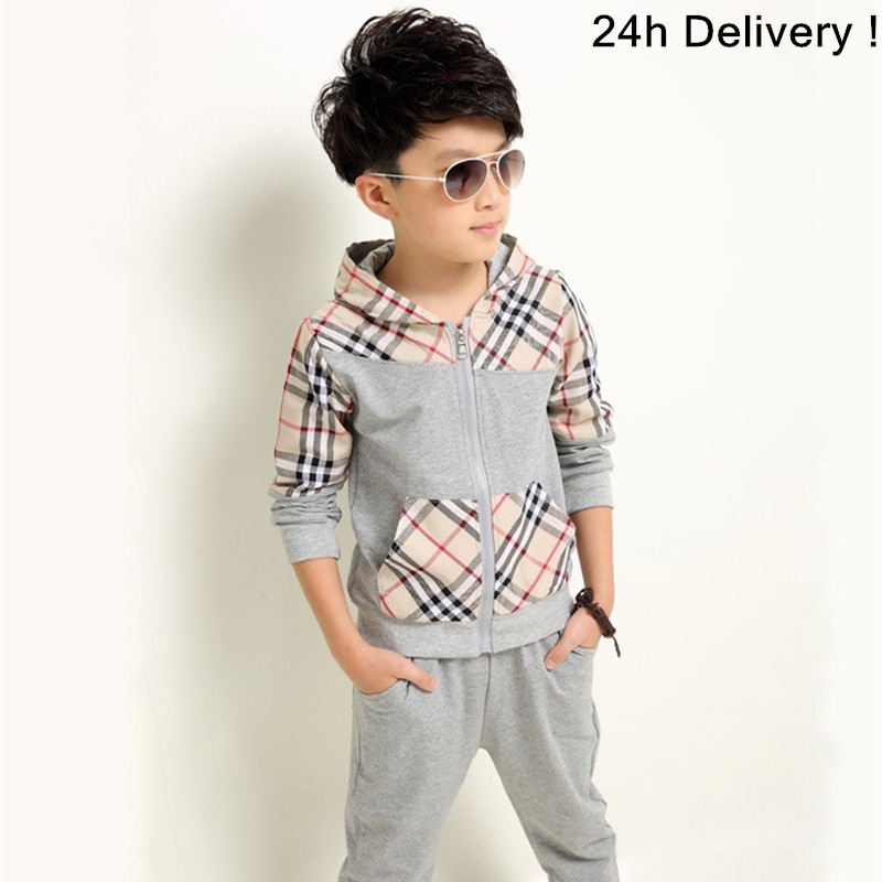 Boys Clothes Sets Cotton Plaid Hooded Autumn 2017 Casual Children Clothing Sports Long Sleeve Tracksuit Suits Kids Outfits Set 2017 brand new boys clothing set kids sports suit children tracksuit long shirt pants cowboy sweatshirt casual clothes sets