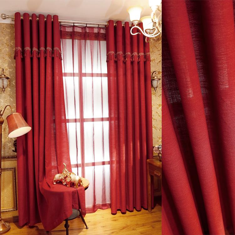 dormitorio sala de estar caliente simple moderna rojo de encargo terminado cortinas de telas de algodn