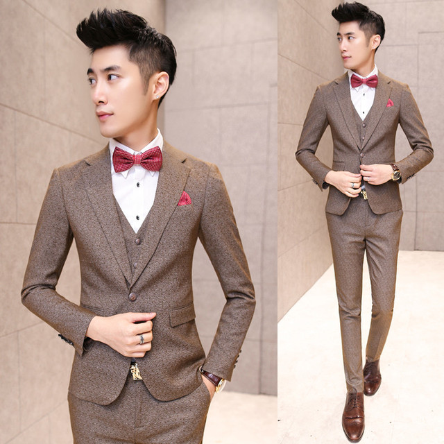 2016 New arrival spring Men Suits Slim Custom Fit Tuxedo Brand Fashion Business Dress Wedding Suits Blazer (Jackets+Pants+vest)