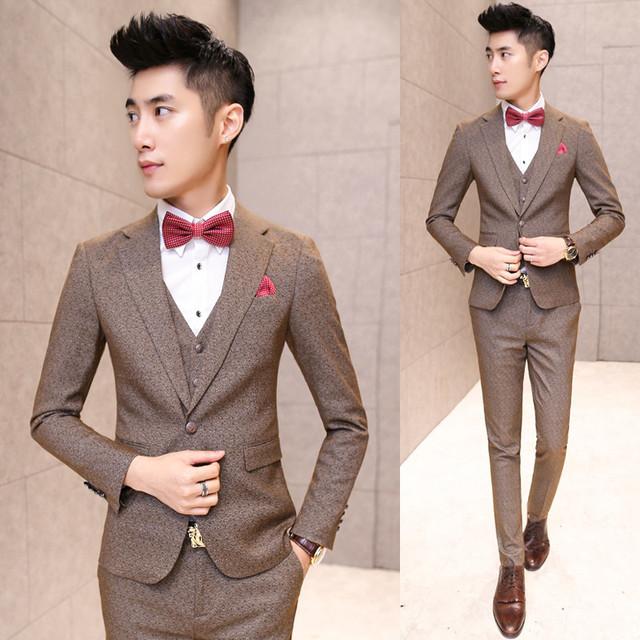 2016 Nova primavera chegada Dos Homens Ternos de Casamento de Slim Vestido de Negócios da Custom Fit Tuxedo Marca Moda Ternos Blazer (Casacos + calça + colete)