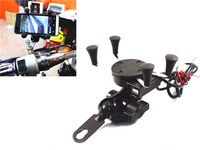Black Mobile Phone Navigation Frame Holder + USB Charger Motorcycle ATV Street
