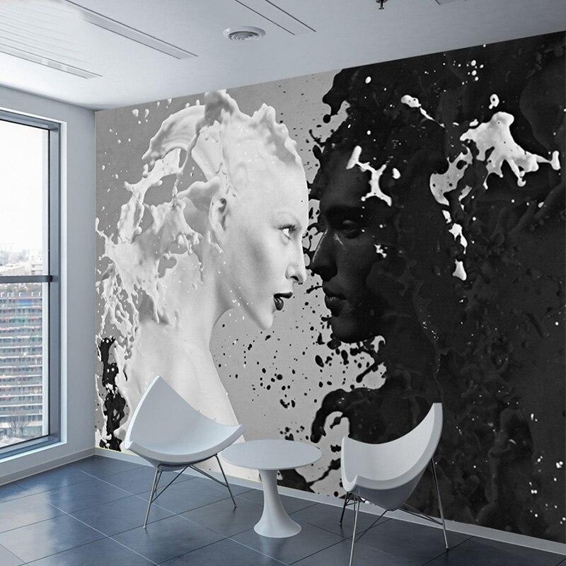 Papier peint Photo personnalisé noir blanc amant De lait pour mur 3 d salon  chambre boutique Bar café murs peintures murales rouleau De Parede
