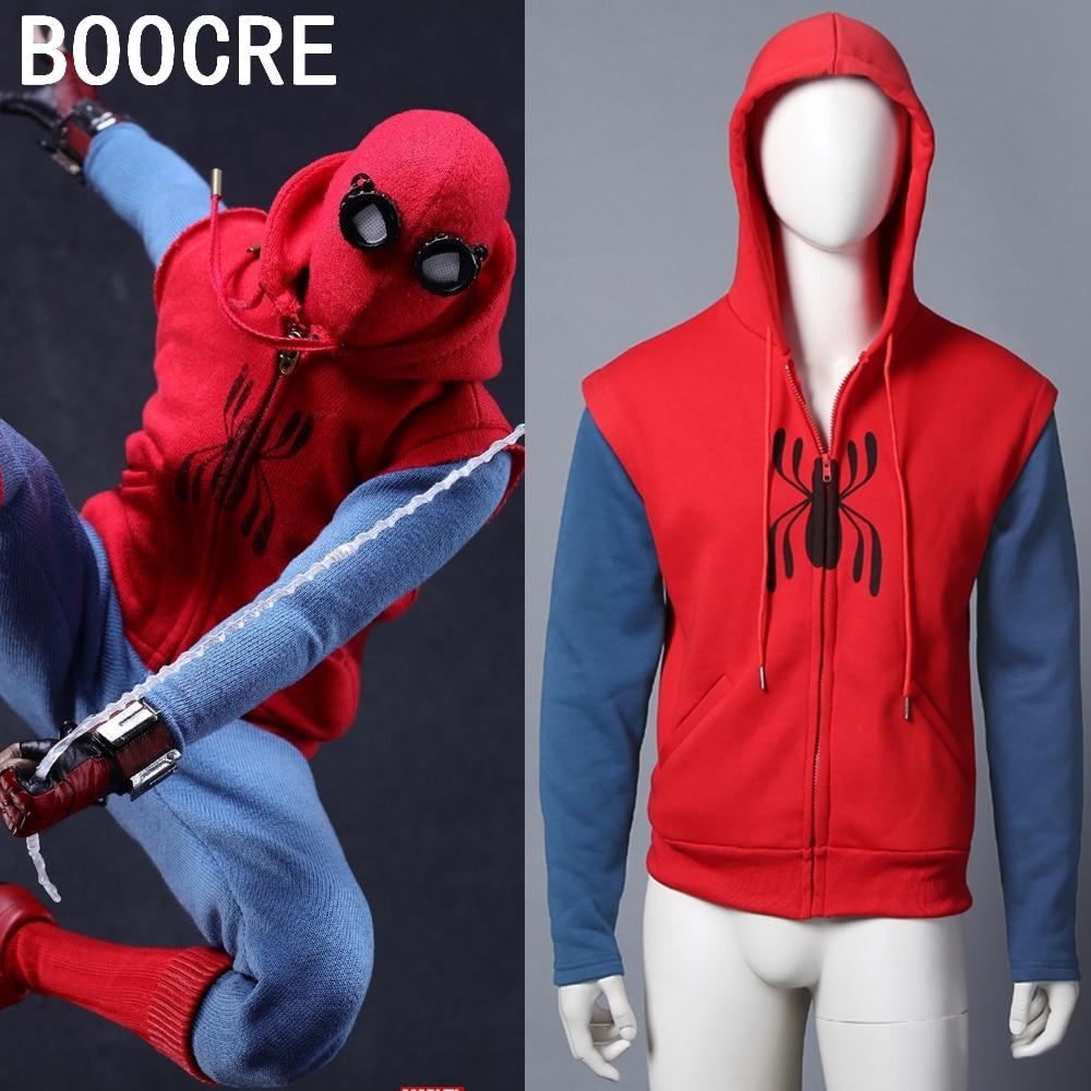 2017 Spiderman Homecoming Cosplay Sweatshirt Coat Hoodie Spiderman Peter Parker Hoodie Zipper Mens Sweater Halloween Costume
