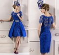 2016 Fashion Royal Blue Short Cocktail Dresses Scoop Neck Short Sleeve Lace Party Semi Formal Dresses Elegant Robe De Cocktail