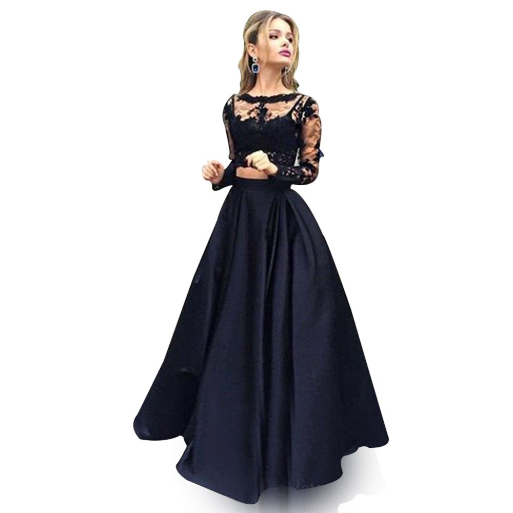 Zyllgf Bridal Sexy Black Prom Dresses Two Piece Long