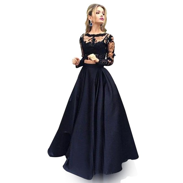 Robe De Soriee New Simple Wedding Dress Full Sleeve Lace: ZYLLGF Sexy Black Bridesmaid Dresses Two Piece Long Sleeve