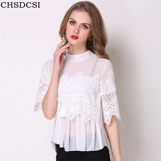 CHSDCSI Summer Tops Sexy Women Black Embroidery Lace Blouse Womens Clothing Shirt Half Sleeve Solid Patchwork Chiffon Blouses