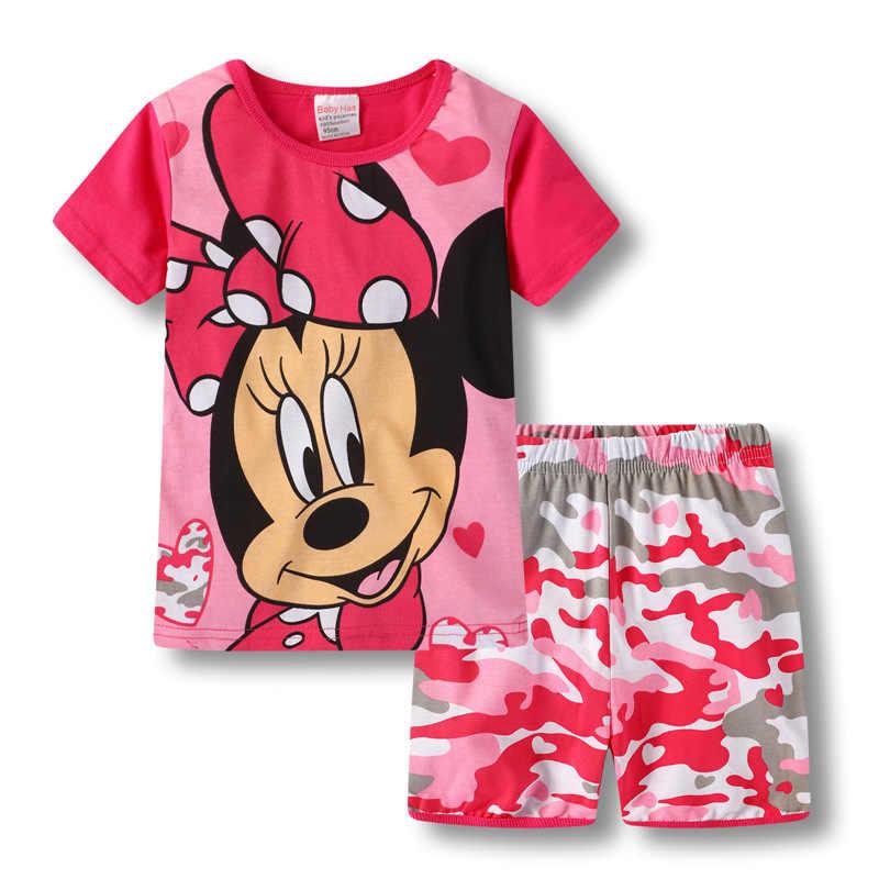 Nueva ropa para niños, niñas, pijamas de princesa, de verano, de manga corta, juego de dibujos animados, mickey Minnie Mouse, ropa de dormir para niños