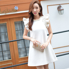 dabuwawa autumn winter new 2016 slim beaded pearls ruffle sleeveless dress white elegant pink doll