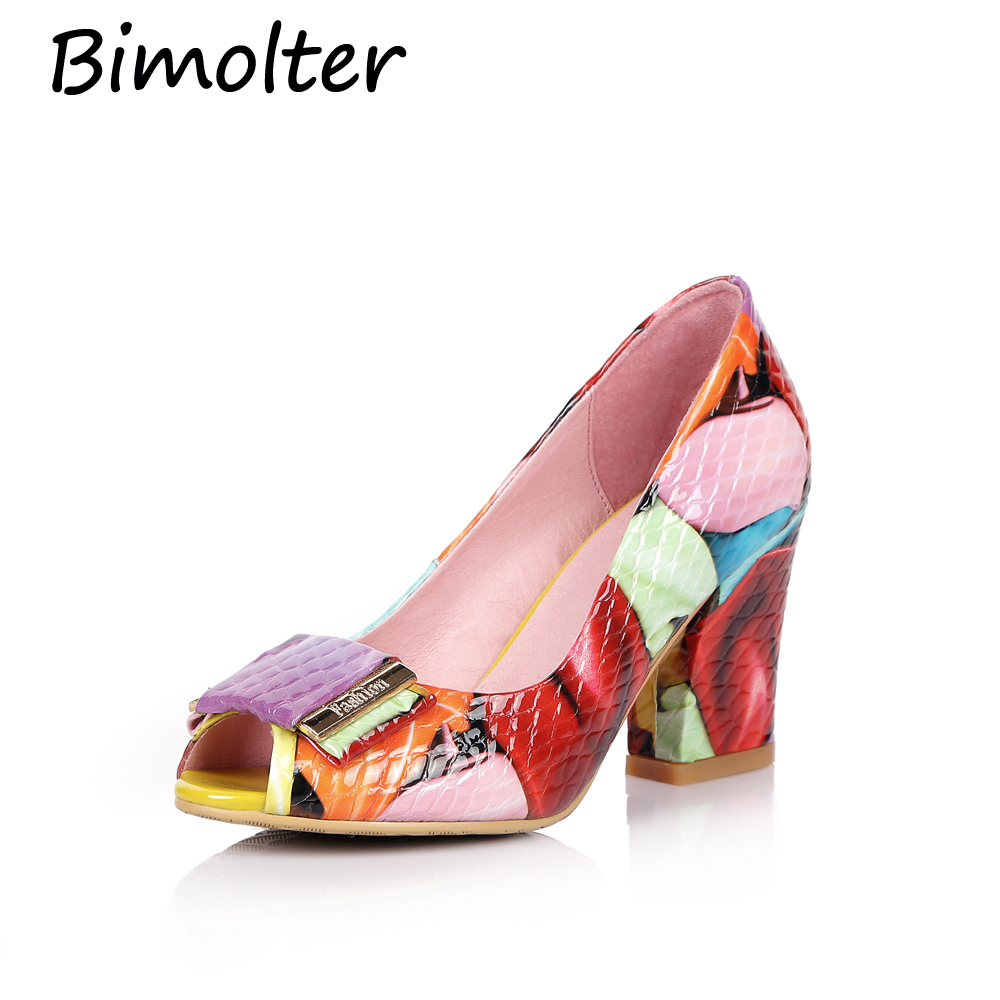 Bimolter Mode Pumps Skor Äkta Leath Women High Heels Öppna Toe Skor - Damskor