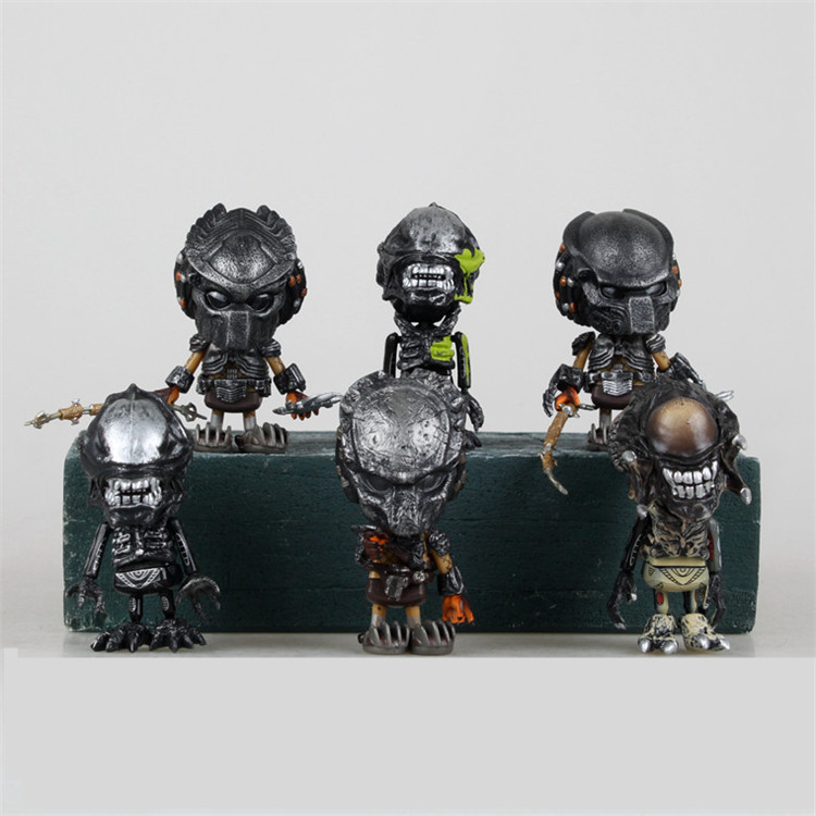 6 pcs/et Alien vs Predator toys AVP 2 Scar Predator figures COSBABY WOLF PREDATOR movie 8cm mini dolls boxes free shipping 6pcs set alien vs predator mini classic predator pvc brinquedos collection figures toys with retail box anno00395a