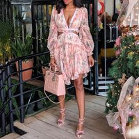 Summer Sexy Club Party Women Hollow Floral Pink Dresses Long Sleeve Print Fashion Sexy Backless Deep V neck Ruffles Short Dress