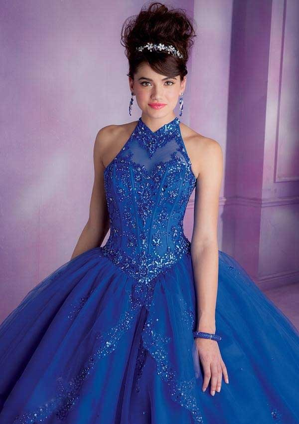 Debut Ball Gowns Quinceanera Dress for 15 Years Tulle Appliques Halter New Fashion Design 2015 Girls Special Party Clothing6