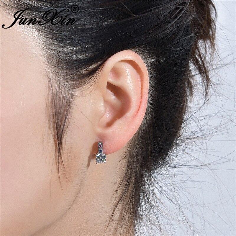 JUNXIN Round Cut Austrian Crystal Stud Earrings For Women Silver Color White Pink Blue Zircon Stone Wedding Earrings Jewelry
