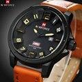 2016 naviforce quartz watch top luxo marca esporte relógios dos homens 3d dial couro militar relógio de pulso relogio masculino