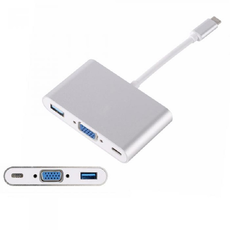 USB 3.1 USB-C to VGA 3IN1 Charging Port Multiport Adapter Cable USB 3