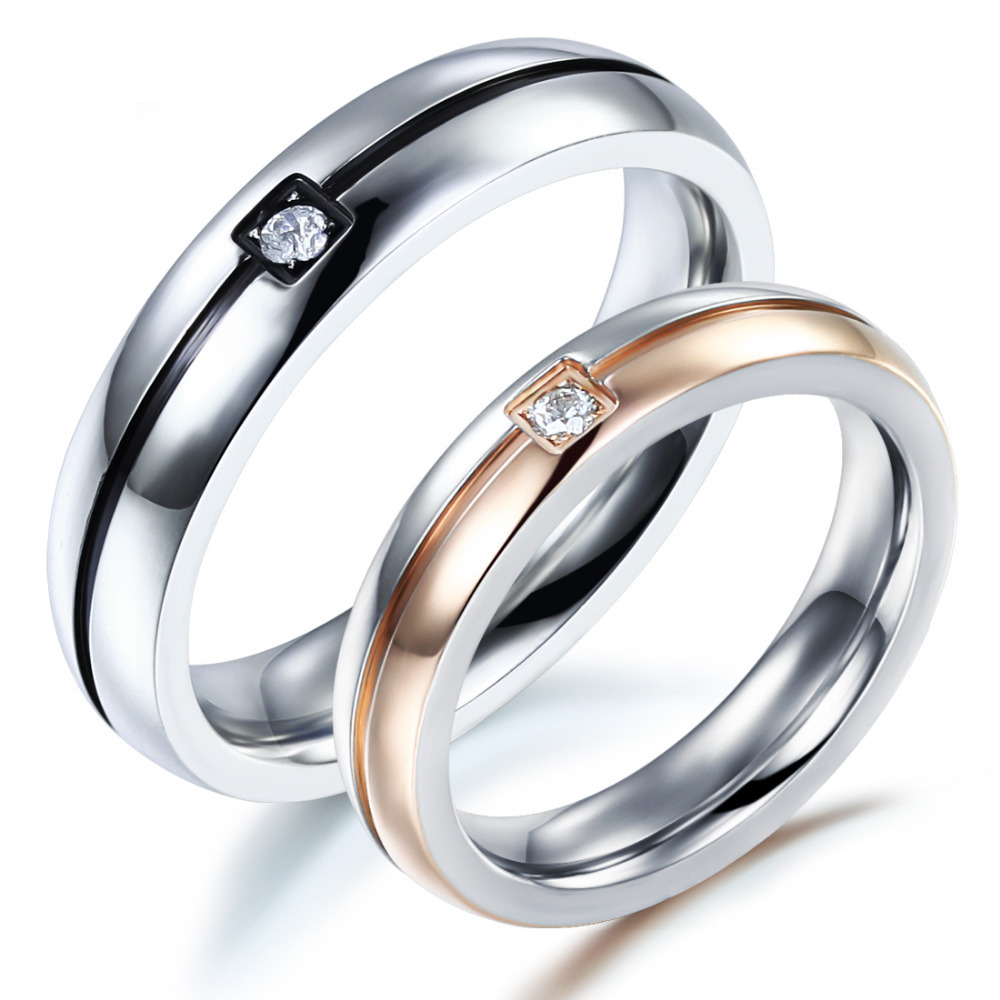 OPK Classical Fashion Lovers Wedding Rings Simple Design Stainless