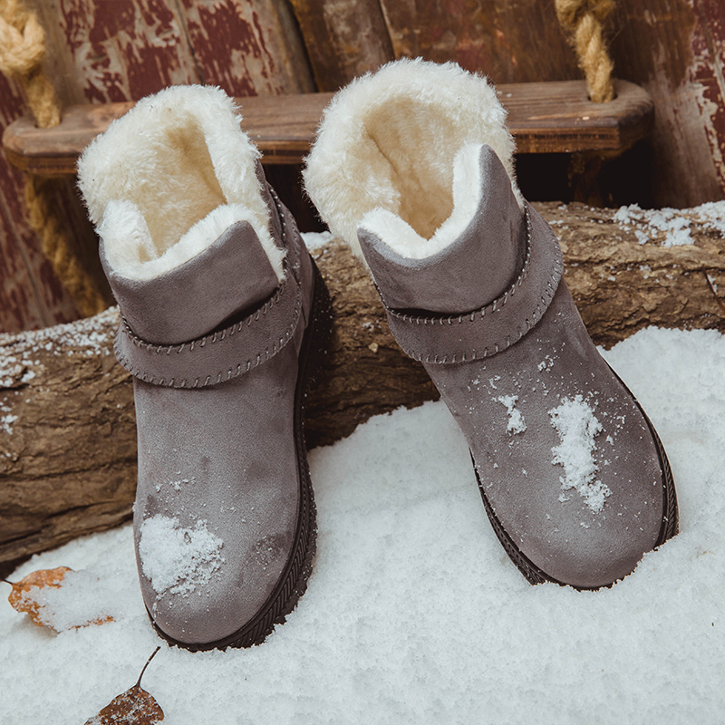 35 44 Big Size Woman Snow Boots Winter Flats Slip on Casual Boots For Women Students