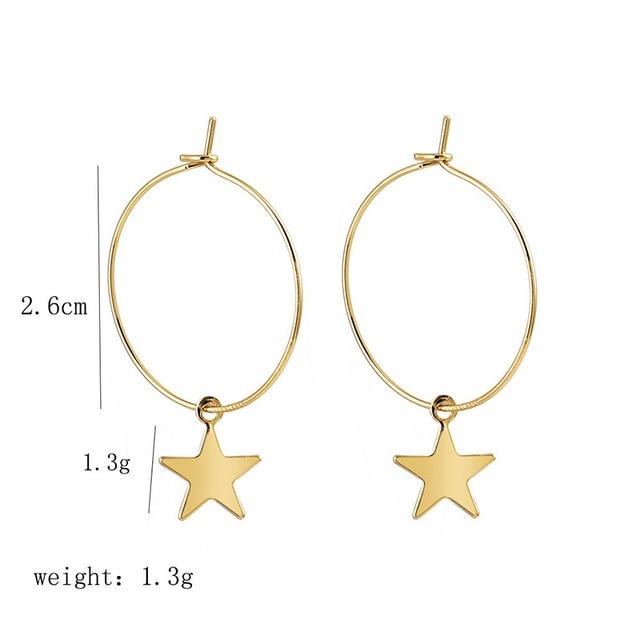 Simple Pentagram Hoop Earrings  2
