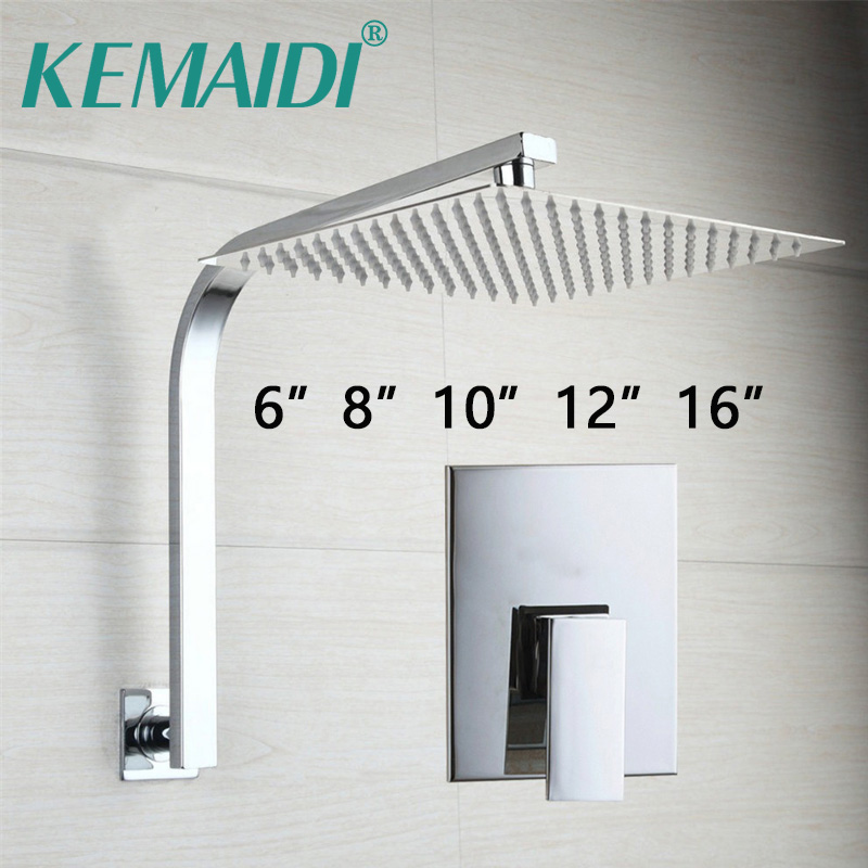KEMAIDI Bathroom Rainfall Shower Head Wall Mouned Swivel Panel Mixer Taps Bathtub Shower Faucets Set Chrome Finish 8 led bathrome bathtub rainfall shower head polished wall mounted swivel mixer taps shower faucets set chrome finish