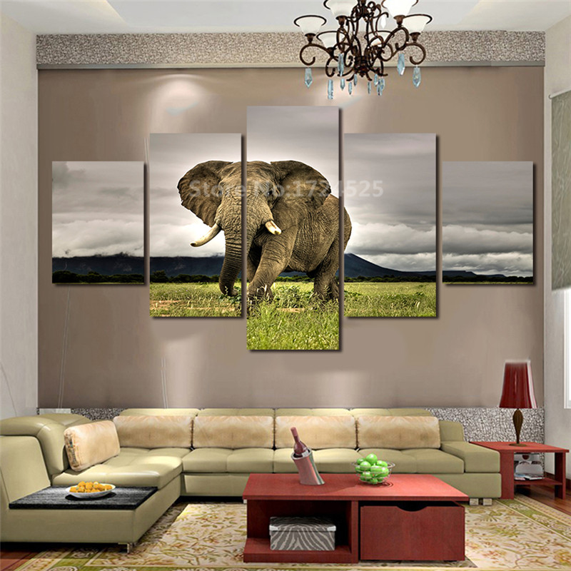 5 Pcs Large HD With Abstract Elephant Canvas Print