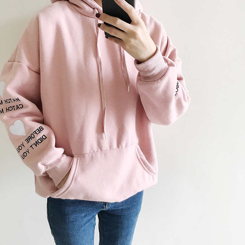 Ivy Fashionable Store 2017 New Korean Harajuku Letters Embroidery Hoodie Thicken Pullovers Women Casual Long Sleeve Hoodies Autumn Winter Sweatshirts