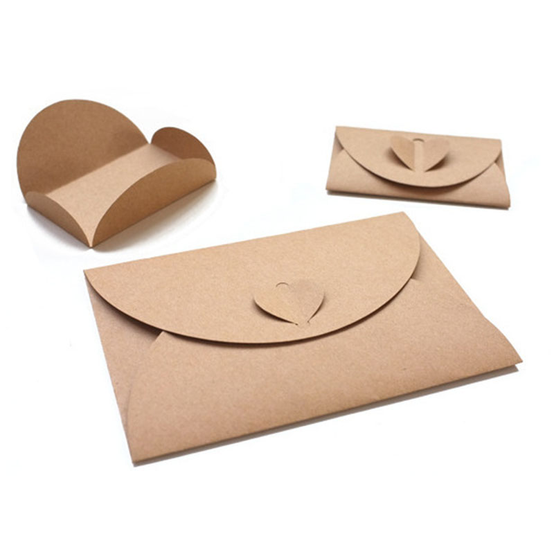 3pcs Love Envelope Simple Paper Envelope Post Card Kraft Airmail Classic Creative Office Stationery Gift CD Letter Fold Envelope